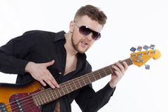 Bass player with attitude Stock Photography