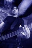 Bass player blue stock photos