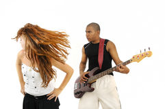 Bass player and dancing girl Royalty Free Stock Images