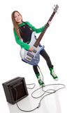 Bass player girl Stock Images