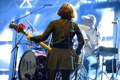 Bass player of Pixies (alternative rock band) in concert at Heineken Primavera Sound 2014 Stock Photography