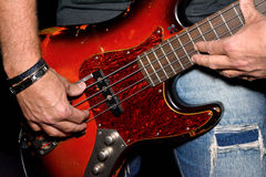Bass player. Plays on the strings Stock Images
