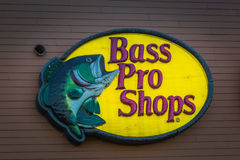 Bass Pro Shops Logo. Harrisburg, PA - January 1, 2017: A Bass Pro Shops Logo outdoor wall sign royalty free stock image