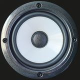 Bass professional loudspeaker with screws, close up isolated on black background. Bass professional loudspeaker with screws, close-up isolated on black royalty free stock photos