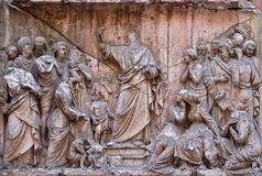 Bass relief in Basilica of Saint Sylvester the First San Silvestro in Capite in Rome. Italy Royalty Free Stock Photography