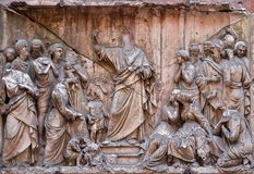 Bass relief in Basilica of Saint Sylvester the First San Silvestro in Capite in Rome. Italy Stock Photo