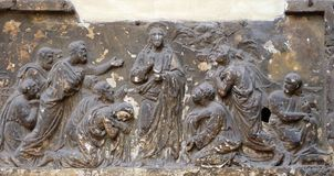 Bass relief in Basilica of Saint Sylvester the First San Silvestro in Capite in Rome. Italy Stock Photography