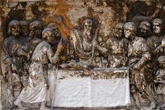 Bass relief in Basilica of Saint Sylvester the First San Silvestro in Capite in Rome. Italy Royalty Free Stock Images