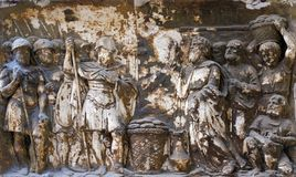Bass relief in Basilica of Saint Sylvester the First San Silvestro in Capite in Rome. Italy Stock Images