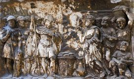 Bass relief in Basilica of Saint Sylvester the First San Silvestro in Capite in Rome. Italy Stock Photos