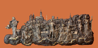 Bass relief with churches and patron saints of Gradec, the old part of Zagreb Stock Photography