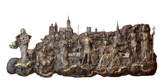 Bass relief with churches and patron saints of Gradec, the old part of Zagreb Stock Image