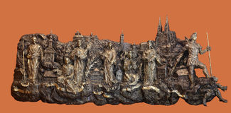 Bass relief with churches and patron saints of Kaptol the old part of Zagreb Stock Photo