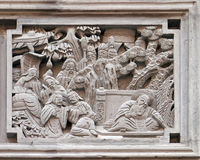 Bass-relief plaque on the doorway of the house in the Grand Canal, ancient town of Yuehe in Jiaxing, China. Richly carved stone bass-relief plaque on the doorway royalty free stock photography