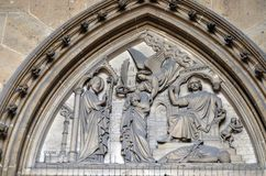 Bass relief on the portal of the Basilica of Saint Clotilde in Paris royalty free stock images