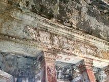 Bass Relief Temple antique également en tant qu'hiver de rue de Pétersbourg de palais de musée connu par ermitage de décoration d images libres de droits