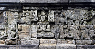 Bass-relief on the wall in Borobudur temple Royalty Free Stock Photography
