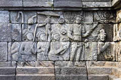 Bass-relief on the wall in Borobudur temple Stock Images