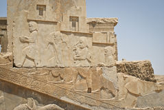 Bass-reliefs in Persepolis Stock Photo