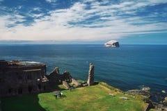Bass Rock och Tantallon slott royaltyfri foto