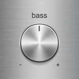 Bass sound control with metal brushed texture. Bass sound control with metal aluminum or chrome brushed texture isolated on aluminum texture background Stock Photos