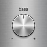 Bass sound control with metal brushed texture Stock Photos