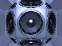 Bass speaker reflections. Cool bass speaker inside the reflective box - abstract background royalty free illustration