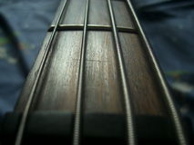 Bass String. View close up about 4-string bass guitar Stock Images