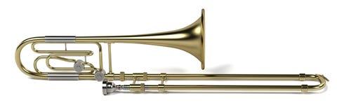 Bass trombone. 3d rendering of bass trombone vector illustration