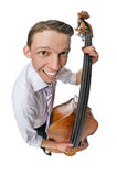 Bass viol player on white background Royalty Free Stock Photo
