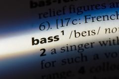 Bass. Word in a dictionary.  concept stock photo