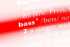 Bass. Word in a dictionary.  concept stock photography