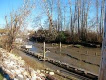 Bassa marea a Finn Slough, Richmond, BC immagine stock