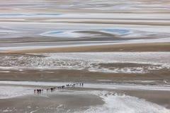 Bassa marea a Mont St-Michel Fotografia Stock