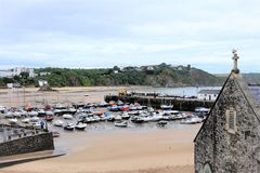 Bassa marea, Tenby, Galles del sud, Regno Unito Fotografie Stock