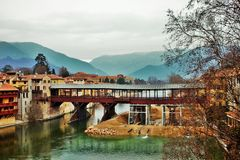 Bassano del grappa, bridge of the alpini, historical monument that recalls the sacrifices of soldiers during the war. currently u. Nder reconstruction after a royalty free stock image