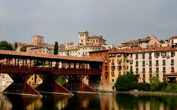 Bassano del Grappa, Italië: 13de eeuw Ponte Coperto Stock Afbeelding