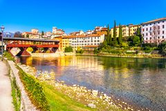 Bassano del Grappa, Old Bridge also known as Bridge of the Alpin. I and Brenta river. Vicenza, Italy Europe Stock Images