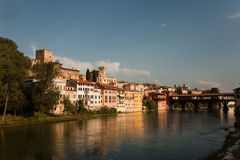 Bassano del Grappa with Ponte degli Alpini Royalty Free Stock Images