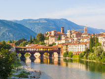 Bassano del Grappa with Ponte degli Alpini Stock Photo