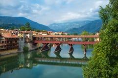 Bassano del Grappa Ponte Vecchio在北意大利 图库摄影