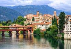 Bassano del Grappa, Veneto, Italy. Ponte dei Alpini wooden bridge in venetian town of Bassano, situated in the Alps mountains royalty free stock image