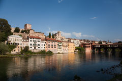 Bassano del Grappe with old wooden covered Bridge Ponte degli Alpini Stock Image