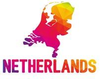 Basse carte polygonale du Nederland néerlandais, royaume de Photographie stock libre de droits