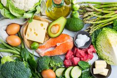 Basse nourriture ketogenic saine de carburateur pour l'alimentation équilibrée image libre de droits