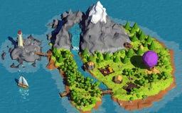Basse poly île Image libre de droits