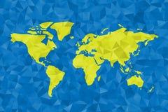Basse poly carte de monde Conception polygonale de vecteur dans vert et bleu Photo stock