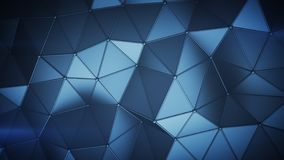 Basse poly construction bleue avec des lignes sur le rende 3D abstrait de bords illustration stock