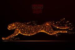 Basse poly flamme de guépard Photographie stock libre de droits