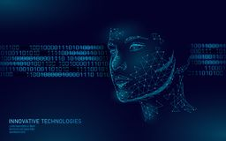Basse poly identification biométrique femelle de visage humain Concept de système de reconnaissance Les données personnelles fixe illustration libre de droits